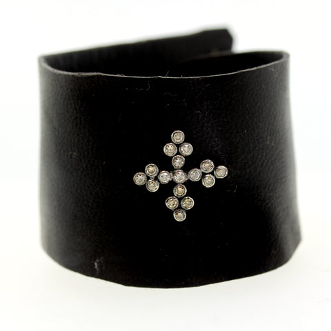 Diamond Greek Cross Leather Bracelet, rebecca lankford designs, leather bracelet, diamond bracelet, houston
