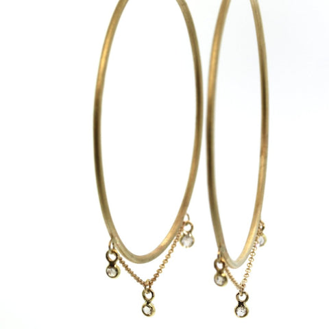 Princess Diamond Hoop Earrings, gold hoops, rebecca lankford designs, houston, diamond earrings