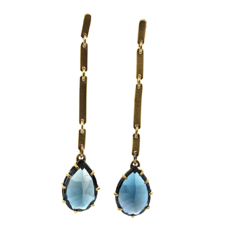 London Blue Topaz Bar Earrings, dangle earrings, gemstone jewelry, rebecca lankford designs, houston