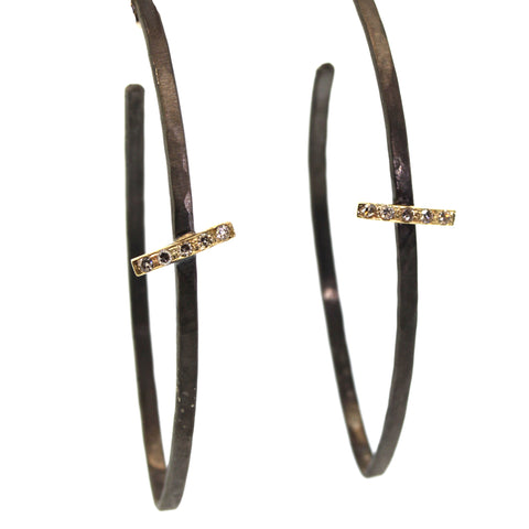 Chunky Diamond Bar Hoop Earrings, diamond earring, rebecca lankford designs, houston
