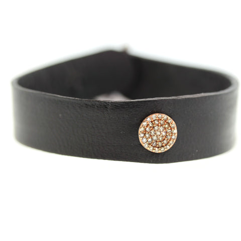 Diamond Rose Disc Leather Bracelet
