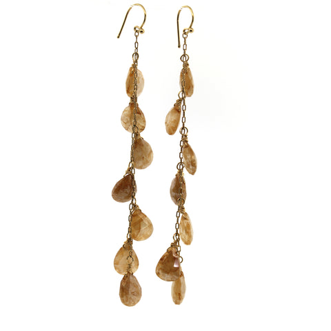 Golden Sapphire 7 Drop Earrings, rebecca lankford designs