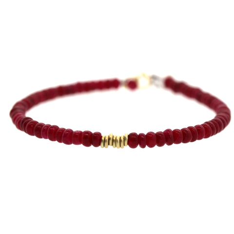 Ruby Gold Ring Bracelet, prayer bracelet, rebecca lankford designs