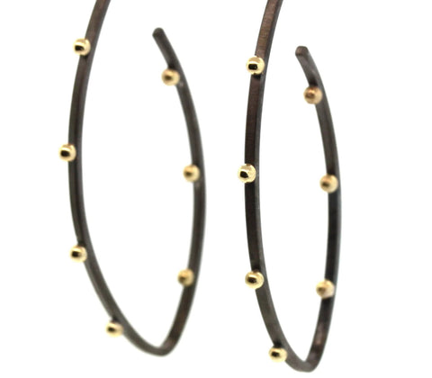 Gold Studded Hoop Earrings