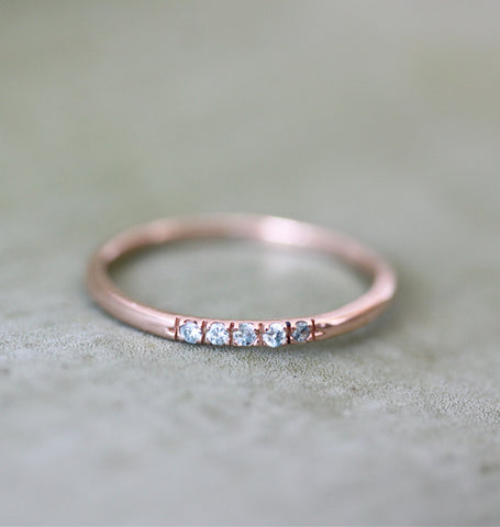 Rose Gold & Blue Diamond Ring