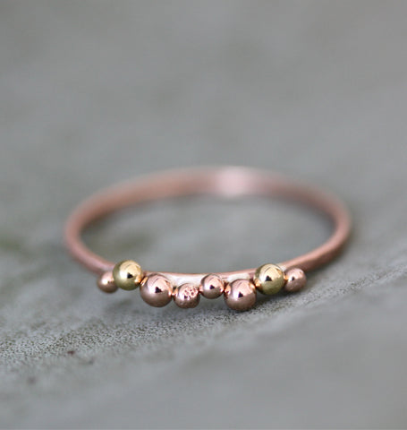 Yellow and Rose Gold Cluster Ring