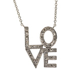 diamond love letter necklace, 14k white gold, rebecca lankford designs, houston, tx