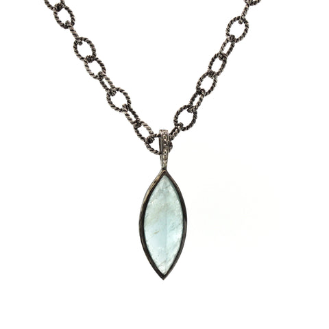 Icy Aquamarine Necklace, gemstone jewelry, rebecca lankford designs, houston, tx