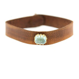 Icy Aquamarine Leather Bracelet, hand cut leather, rebecca lankford designs, houston, tx