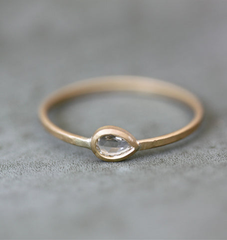 Sideways Pear Shaped Diamond Ring