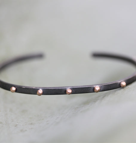 Thin Rhodium Studded Cuff