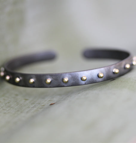 Rhodium Plated Studded Cuff Bracelet