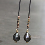 Tahitian Pearl Stick Earrings handmade at Rebecca Lankford's studio in Houston Heights, Houston, Texas