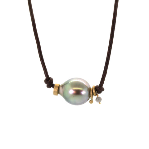 Grey pearl and leather necklace handcrafted by Houston jeweler, Rebecca Lankford
