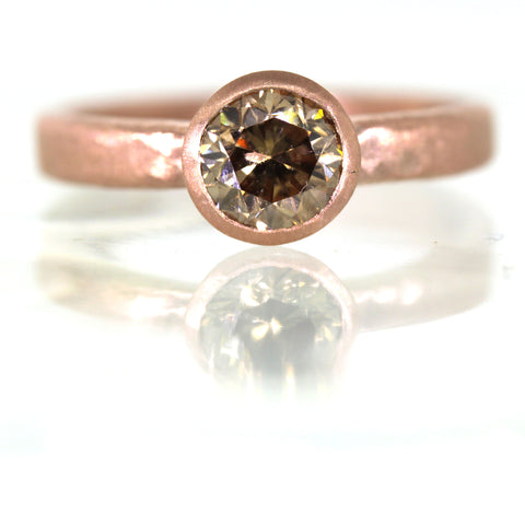 Champagne Diamond and Rose Gold Engagement Ring