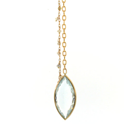 Icy marquise cut aquamarine pendant on long chain with little accenting raw diamonds dangling from another chain. This necklace was expertly crafted by Rebecca Lankford in Houston, Texas.