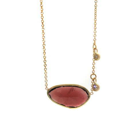 Garnet & Diamond Necklace hand crafted in Houston, Texas by Rebecca Lankford. Each stone is hand picked and individually set upon order of necklace.