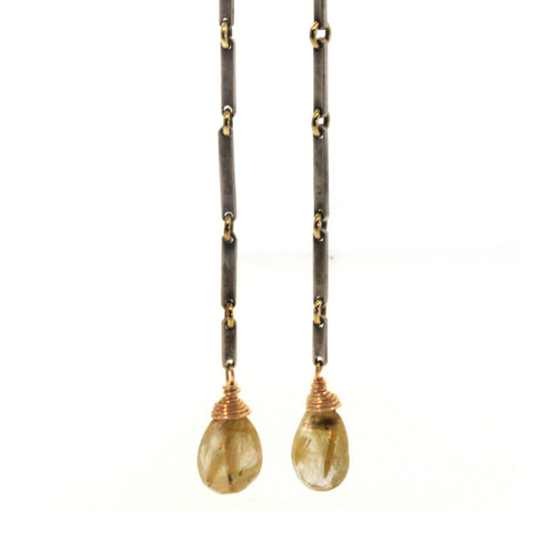 Rutliated Quartz Bar Earrings Handcrafted at Rebecca Lankford Designs in the Houston Heights.