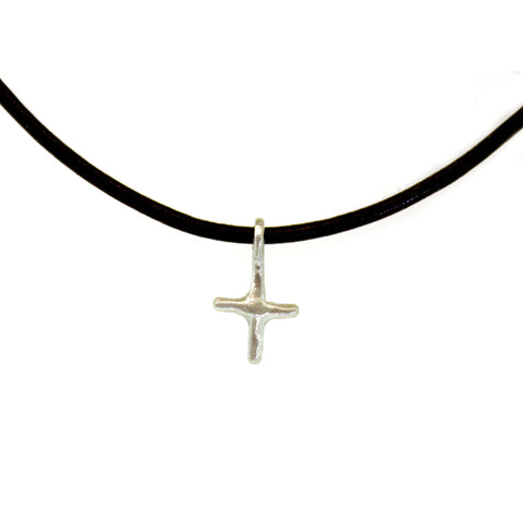 Leather & Silver Cross Necklace - Leather Cross Necklace - Rebecca Lankford Designs
