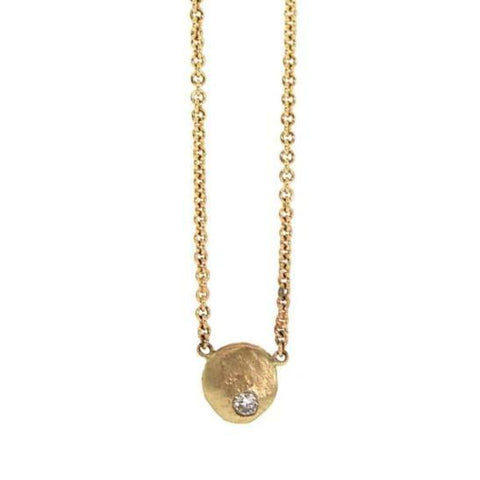 Gold Diamond Disc Necklace - Gold Disc Necklace - Rebecca Lankford Designs