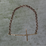 Silver Diamond Cross Bracelet