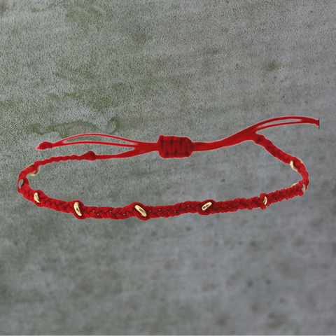 Red Gold Ring Macrame Bracelet