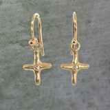 Diamond Cross Dangle Earrings
