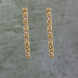 Pave Gold Bar Stud Earrings