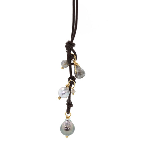 Pearl & Labradorite Leather Lariat Necklace