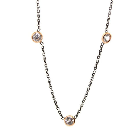 Silver & Rose Triple White Sapphire Necklace - Rebecca Lankford Designs