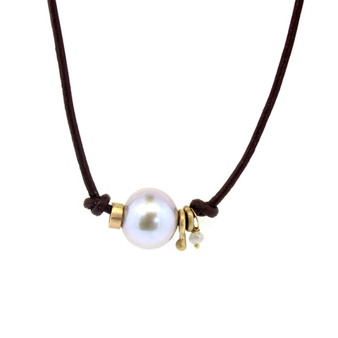 Leather Pearl & Gold Ring Necklace - Pearl and Leather Necklace - Rebecca Lankford Designs