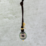 Charmed Tahitian Pearl Leather Necklace