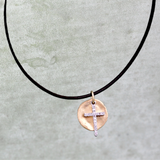 Diamond Cross and Gold Disc Leather Necklace