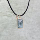 Aquamarine and Diamond Leather Necklace