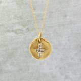 Gold Disc & Diamond Cross Necklace