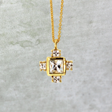 White Sapphire Byzantine Cross Necklace