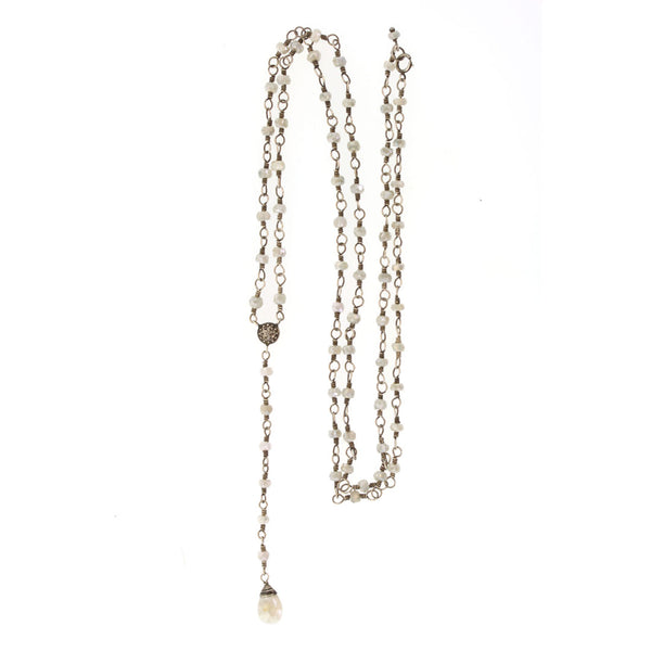 Silver & White Sapphire Rosary Necklace - Rebecca Lankford Designs