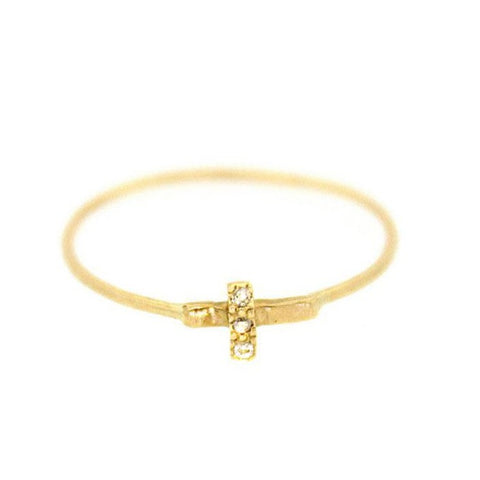 Gold Diamond Cross Ring - Rebecca Lankford Designs