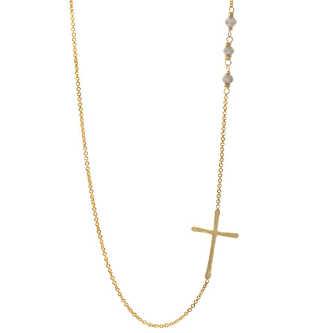 Raw Diamond Sideways Cross Necklace