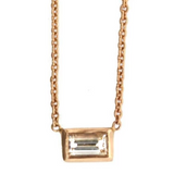 Rose Gold Solitaire Baguette Necklace