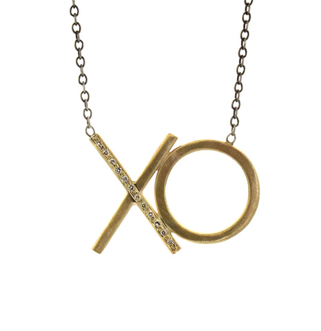 "Exaggerated Gold & Diamond ""XO"" Necklace"