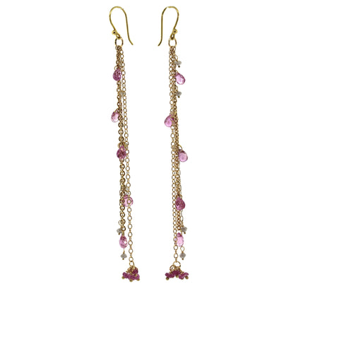 Pink Sapphire & Raw Diamond Waterfall Earrings
