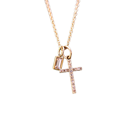 Diamond Cross and Baguette Charm Necklace