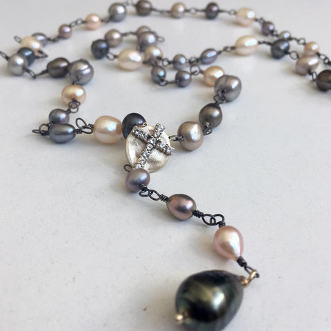pearl rosary necklace - rebecca lankford designs