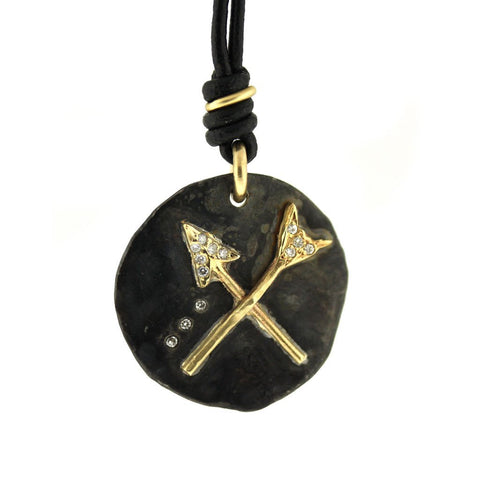 Leather Broken Arrow Necklace - Leather Arrow Necklace - Rebecca Lankford Designs
