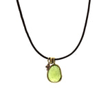 Peridot & Diamond Dangle Leather Necklace