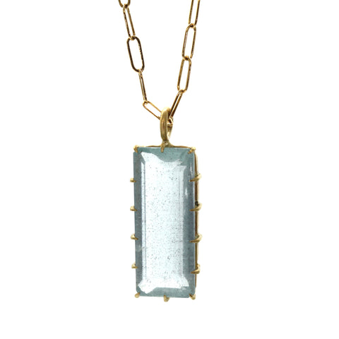 Rectangular Aquamarine Necklace