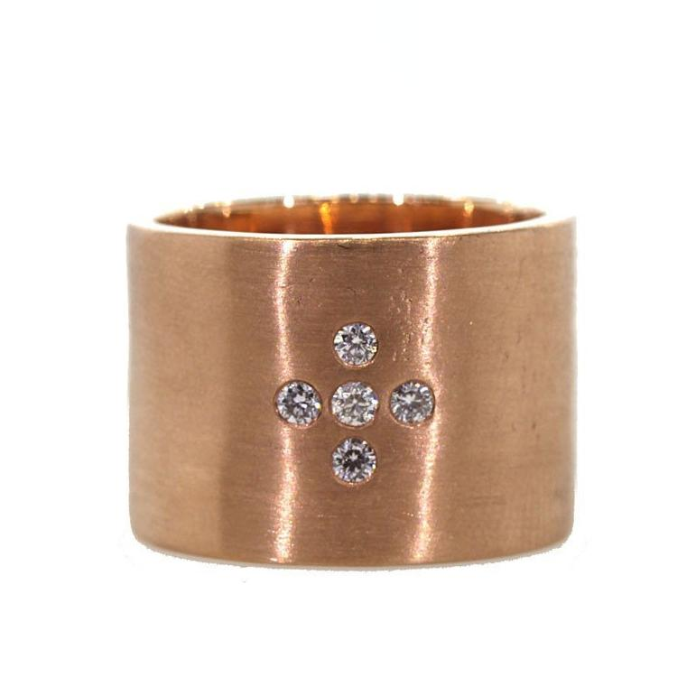 Thick Rose Gold Diamond Cross Ring - Chunky Rose Gold Cross Ring - Rebecca Lankford Designs