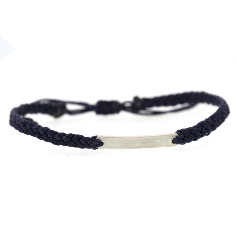 Men's Silver Bar Macrame Bracelet - Rebecca Lankford Designs