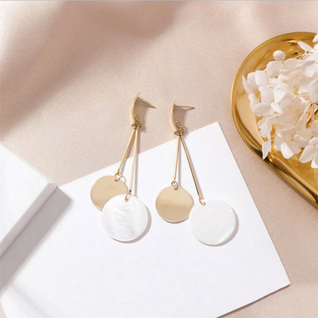 (Pre-Order) Geometric Shell Drop Earrings 16